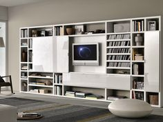 Sectional lacquered storage wall Crossing MisuraEmme Collection by MisuraEmme | design Mauro Lipparini, CRS MisuraEmme