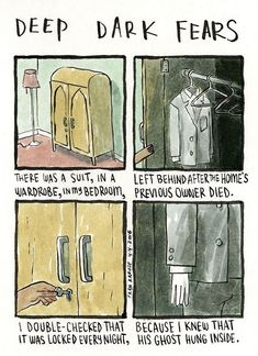 """deep-dark-fears: """" A fear submitted by Michayla to Deep Dark Fears - thanks! The new Deep Dark Fears book is available now, with fifty unpublished comics and fifty favorites! You can find it at . Short Creepy Stories, Short Horror Stories, Dark Comics, Fun Comics, Fear Book, Deep Dark Fears, Horror Tale, Funny Gags, Supernatural"""