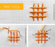 Aprenda a bordar o ponto treliça, um ponto de bordado livre usado para preencher áreas grandes do desenho.