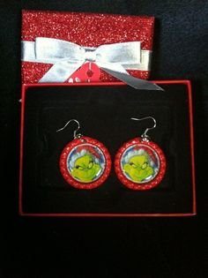 The Grinch Santa Inspired Red Earrings Christmas in July Free Shipping #Handmade #DropDangle