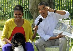 """President Obama reads """"Where the Wild Things Are"""" with First Lady Michelle Obama during the White House's Easter Egg Roll on Monday. Funny Baby Images, Funny Pictures For Kids, Funny Animal Pictures, Funny Kids, Funny Animals, American Funny Videos, Funny Dog Videos, Humor Videos, Funny Cartoons"""