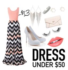"""""""Under $50 dress"""" by tally-stew ❤ liked on Polyvore featuring Chicnova Fashion, Fiebiger, Jules Smith, Kendra Scott, Lipsy, GUESS and Dressunder50"""