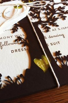 Fall letterpress wedding invitations with laser-cut tree overlay for modern yet rustic aesthetic