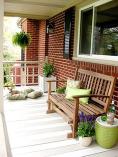 I like the shared bench and the potted plant