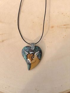 Goat Pendant Necklace 2 Gemstone Heart Pygmy Goat by Phils4Winds