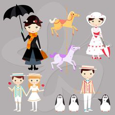 Mary Poppins Digital Clip Art Clipart Set - Personal and Commercial Use