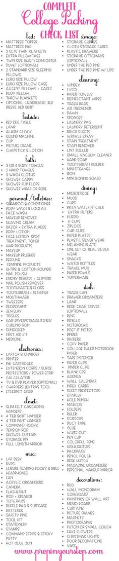 Complete College Packing Checklist
