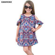 f9aa93e6ac8d9 Princess Flower Girl Dress Summer 2017 Summer Baby Kids Girls Off Shoulder  Print Bohemian Dress Clothes Outfits