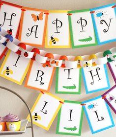 "PRINT & SHIP Rainbow of Bugs Birthday Party Pennant Banner (""Happy 1st Birthday"")"