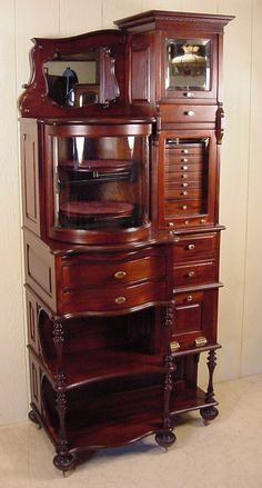 "The ""Top-of-the-Line"" Mahogany Ransom & Randolph Dental Cabinet Real Wood Furniture, Rococo Furniture, Art Furniture, Furniture Makeover, Vintage Furniture, Diy Jewelry Cabinet, Jewellery Storage, Woodworking Furniture, Diy Woodworking"