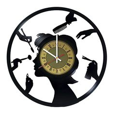 Creative Gift Idea for Barber Hair Salon Vinyl Wall Clock Wall Clock Gift, Clock Art, Diy Clock, Novelty Clocks, Record Clock, Record Wall, Family Tree Wall Sticker, Record Crafts, Lampe Art Deco