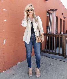 Fashion Look Featuring Topshop Shoulder Bags and Madewell Skinny Denim by cristincooper - ShopStyle Size 16 Fashion, Simply Fashion, Fashion Looks, Work Fashion, Fashion Ideas, Layering Outfits, Simple Outfits, Pretty Outfits, Pretty Clothes