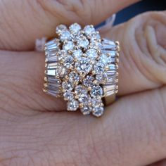 2 20ct I J vs SI1 Diamond Waterfall Cluster Cocktail Ring 14k YG Large Ring | eBay