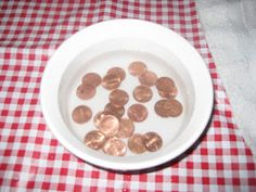Penny cleaning (fine motor, life skills, concentration, multiple steps).    Mix about a half cup of white vinegar with water in a small bowl. Let the pennies soak for a short time, then take one out and show your child how to scrub it with a toothbrush. Scrub both sides, then dry each penny with a clean washcloth. The results are fairly dramatic, especially if you're using old pennies. Encourage your child to continue until all the pennies are shiny.