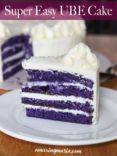This Easy Ube Cake Recipe is for the non-bakers, the small city residents without a Filipino bakery, and people who don't have much time but still want some good ole' pinoy sweet Ube Cake. Cake Mix is used for this recipe to make it easier for the amateu Ube Dessert Recipe, Ube Cupcake Recipe, Easy Cake Recipes, Dessert Recipes, Purple Yam Cake Recipe, Philipinische Desserts, Filipino Desserts, Asian Desserts, Pastries