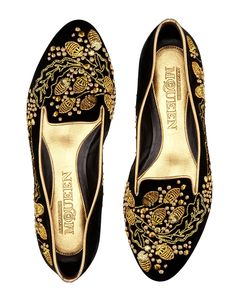 MAXIMUM IMPACT: Alexander McQueen redefines smoking slippers with these gilded, ornate slip ons.