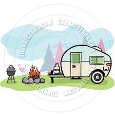 Vintage RV Clip Art | Camper Trailer by Mike McDonald