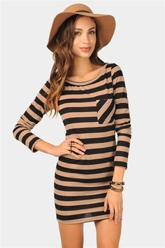 Striped dress that would look great with leggings and a pair of boots this winter