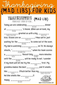 Thanksgiving Mad Lib For Kidscountryliving
