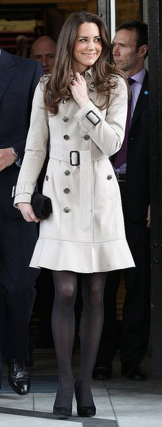 Kate Middleton Style: She chose a traditional beige trench coat for an afternoon on the town.
