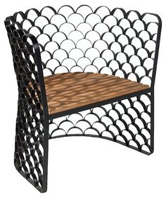 Exceptional Koi Chair, Teakwood Semicircles Of Black Iron Form A Fish Scale Pattern  Across This Chairu0027s Frame. The Seat Is Made Of Teak Slats That Offer A  Welcome ... Amazing Design