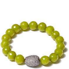 Tai Light Green Beaded Bracelet ($160) ❤ liked on Polyvore featuring jewelry, bracelets, beaded jewelry, tai jewelry, beaded bangles, bead jewellery and beading jewelry