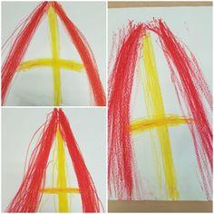 Schrijfdans mijter. Met in beide handen een rood waskrijtje de basis van boven naar beneden maken. Daarna met de voorkeurshand een gele verticale lijn op en neer en tenslotte de horizontale lijn heen en weer maken. Weihnachten