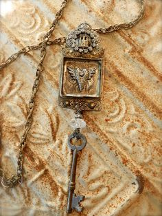 Rhinestoned Castle Heartbox Necklace by Diana Frey, via Flickr