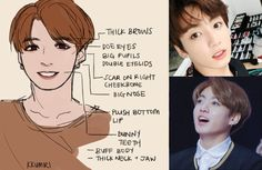 How to draw the characteristic features of Jeon Jung-kook (전정국) of BTS (방탄소년단) in fanart. Nose Drawing, Drawing Tips, Drawing Reference, Kpop Drawing, Figure Drawing, 3 4 Face, Fanart Bts, Face Study, Sarada Uchiha