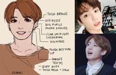 How to draw the characteristic features of Jeon Jung-kook (전정국) of BTS (방탄소년단) in fanart. Fanart Bts, Face Study, Bts Face, Sarada Uchiha, Bts Drawings, Bts Boys, Drawing Tips, K Pop, K Idols