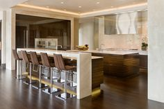 Modern Kitchen Stools Ideas : Contemporary Kitchen Modern Bar Stools Luxury Home With View Kitchen Bar Design, Stools For Kitchen Island, Home Decor Kitchen, Counter Stools, Kitchen Ideas, Bar Counter, Island Stools, Counter Design, Kitchen Layout