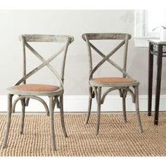 Safavieh Franklin X Distressed Colonial Walnut Back Chair (Set of 2)-AMH9500D-SET2 at The Home Depot
