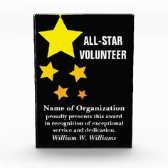 Shop All-Star Volunteer Service Recognition Award created by inspiredbygenius. Volunteer Appreciation Gifts, Appreciation Message, Recognition Awards, Employee Recognition, Thank You Party, Thank You Gifts, Volunteer Quotes, Volunteer Week, Volunteer Ideas