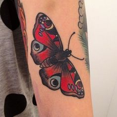 Big red painted moth tattoo - Tattooimages.biz