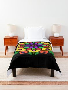"""Flower of Life Mandala"" Comforter by Pultzar 