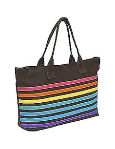 Instant color with this rainbow handbag