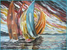 Pintura al oleo Veleros 24 original firmado 40 por elinca24Studio