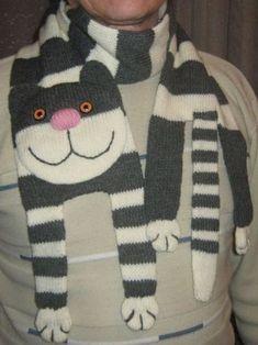 Knitting Projects, Crochet Projects, Knitting Patterns, Crochet Patterns, Crochet Scarves, Knit Crochet, Crochet Hats, Funny Pix, Cat Scarf