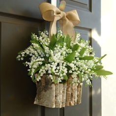spring wreath Easter wreaths lily of the valley wreath front door decorations spring birch bark vases wreaths