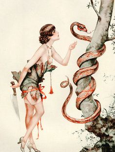 """La revanche d'Eve"" by Chéri Hérouard for La Vie Parisienne Magazine, 1927 Paper Book Covers, Adam Et Eve, Scary Snakes, Lisa S, Vintage Artwork, Vintage Illustrations, Love Illustration, Vintage Magazines, Life Magazine"
