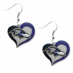 Baltimore Ravens Logo Heart Earrings Dangle