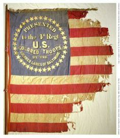 *ACW ~ Fourth Regiment United States Colored Troops Flag Fourth Regiment United States Colored Troops Civil War Flag. Silk mounted on a wooden pole (with the eagle missing). Date of Original: 1863 American Revolutionary War, American Civil War, American History, American Flag, Civil War Flags, Civil War Photos, Us History, Ancient History, Black History