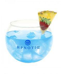 HPNOTIQ Fishbowl: 1 oz. HPNOTIQ,     1 oz. Limoncello, 1 oz coconut rum, 1 oz. Absolut Vodka, 1 oz. Blue Curacao