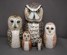Nesting Doll Owls Set of 5 Matryoshka Wooden Figures by SavageArtworks on Etsy