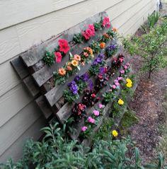 Pallet Flower Garden :: Hometalk/great idea for strawberries!