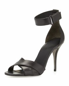 Alexander Wang Drielle Leather Ankle-Wrap Sandal, Black - Neiman Marcus - yes please! #shoes