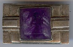 ABRAHAM PAZ VINTAGE MEXICO STERLING SILVER AMETHYST PIN