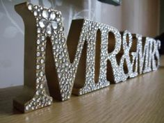 Gold Mr and Mrs bling sign but W/ last name too... Cute for bridal shower gift to be used for wedding