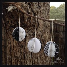 5xHanging christmas paper decorations baubles tree twine natural rustic vintage $14.95 set of 5 at www.madeit.com.au/thepaperowl