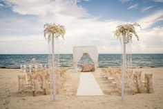 The ocean makes a perfect backdrop for your wedding ceremony #DreamsRivieraCancun